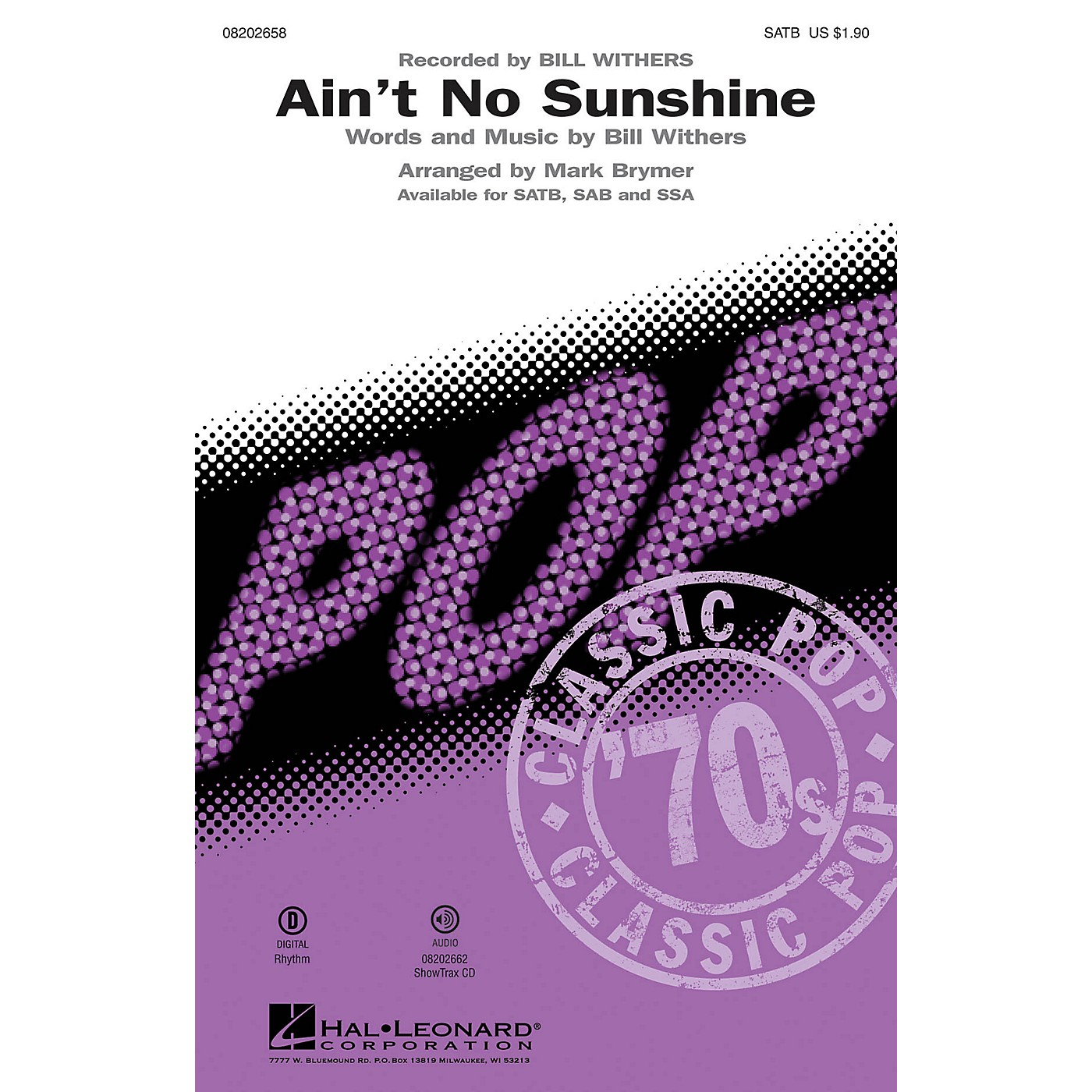 Hal Leonard Ain't No Sunshine SAB by Bill Withers Arranged by Mark Brymer thumbnail