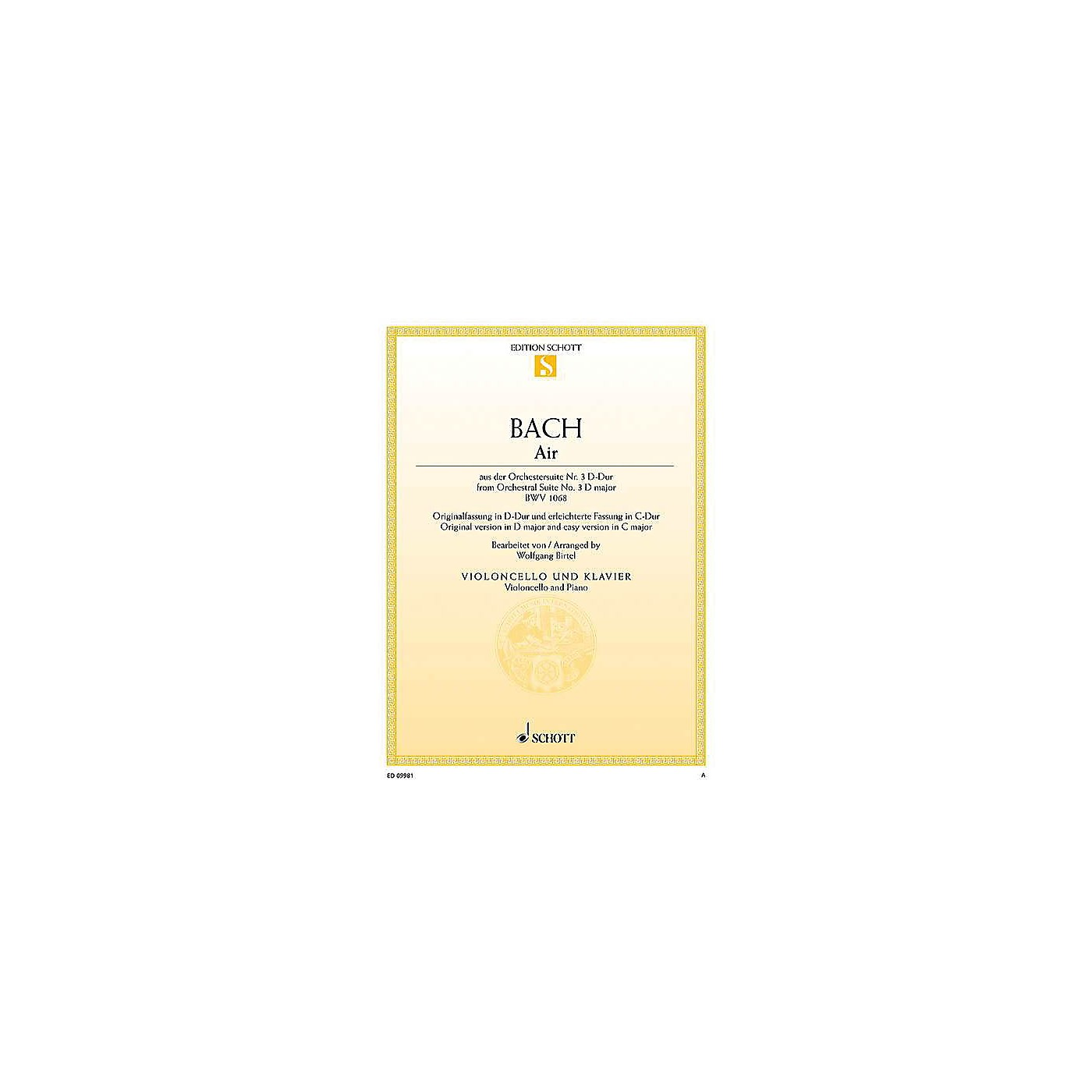 Schott Air from Orchestral Suite No. 3 in D Major BWV 1068 String Series Softcover thumbnail