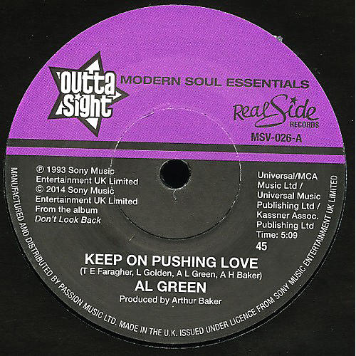 Alliance Al Green - Keep on Pushing Love / Your Heart's in Good Hands thumbnail