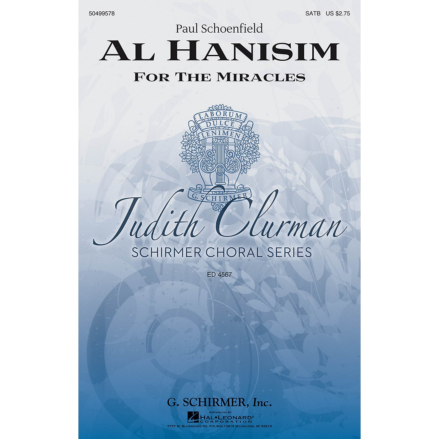 G. Schirmer Al Hanisim (Judith Clurman Choral Series) SATB composed by Paul Schoenfeld thumbnail