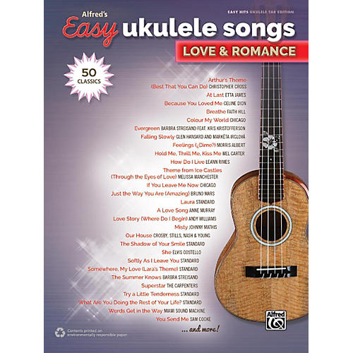 Alfred Alfred's Easy Ukulele Songs - Love & Romance Easy Hits Ukulele TAB Songbook thumbnail