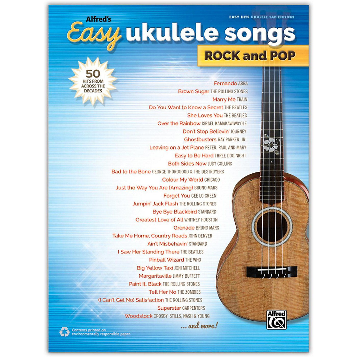 Alfred Alfred's Easy Ukulele Songs: Rock and Pop, Easy Hits Ukulele TAB Songbook thumbnail