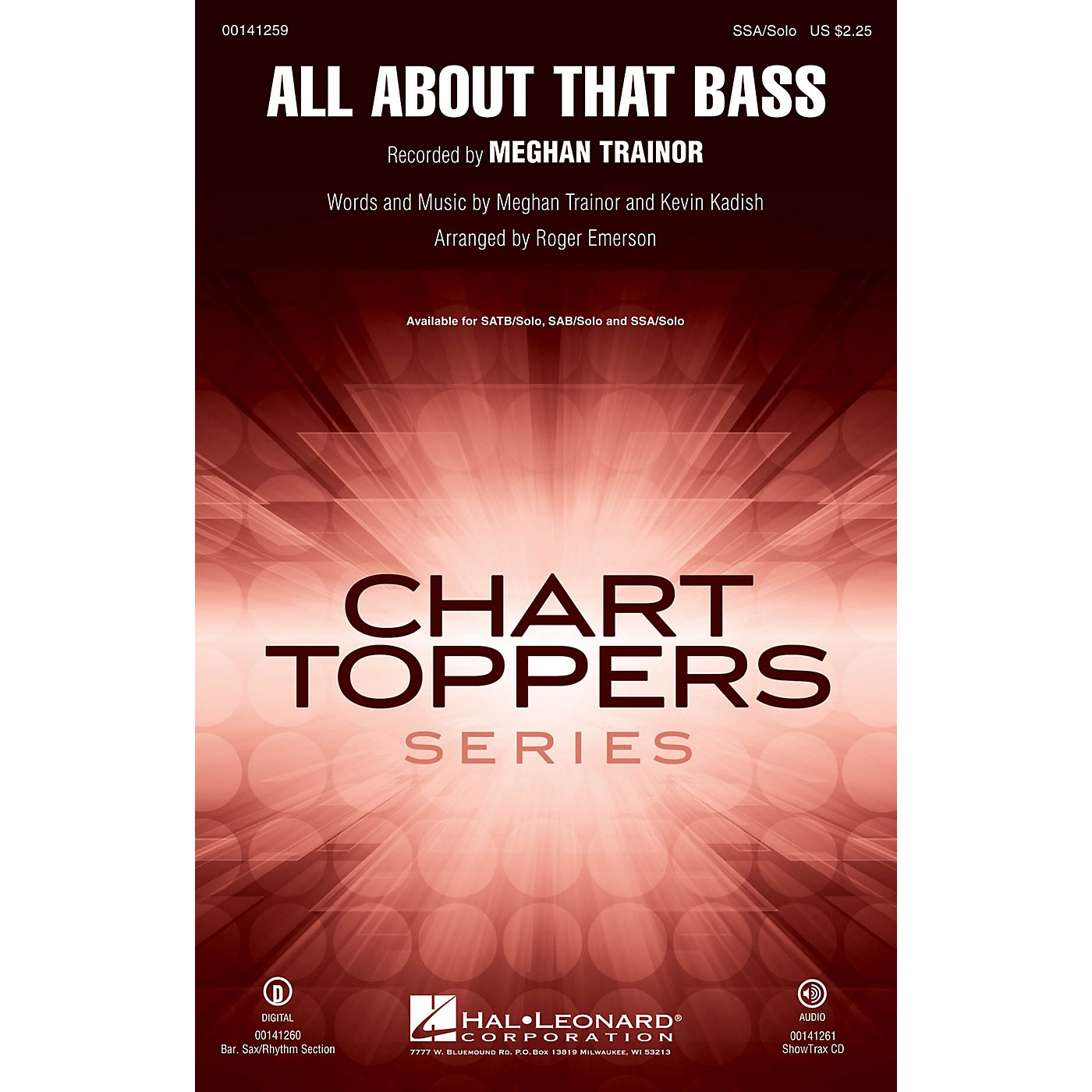Hal Leonard All About That Bass SAB and Solo by Meghan Trainor Arranged by Roger Emerson thumbnail