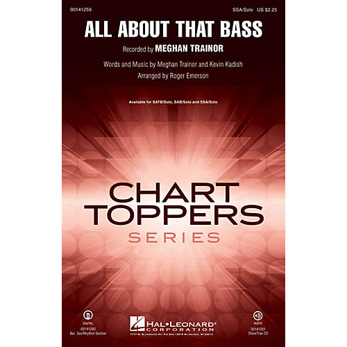 Hal Leonard All About That Bass SATB Chorus and Solo by Meghan Trainor Arranged by Roger Emerson thumbnail