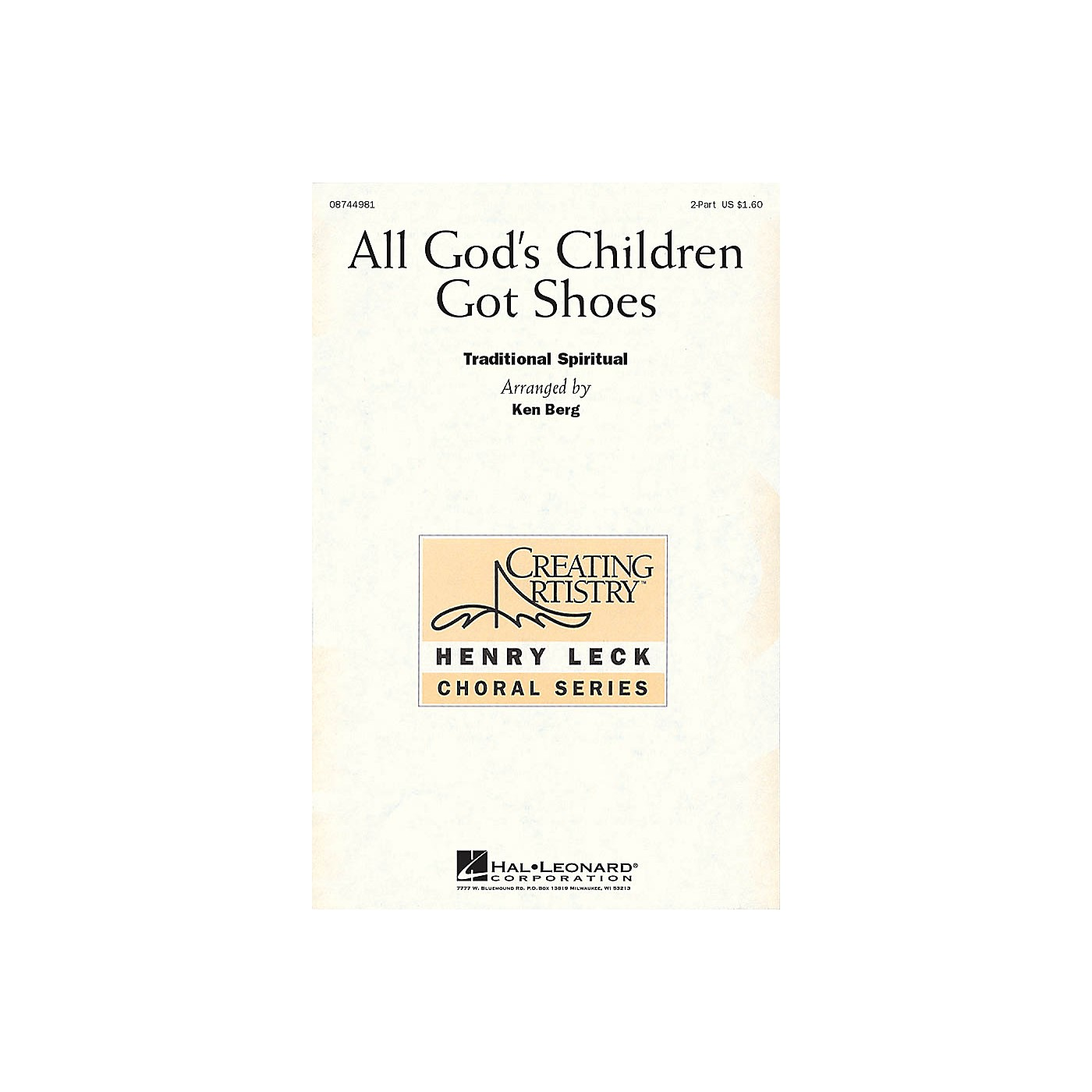 Hal Leonard All God's Children Got Shoes 2-Part arranged by Henry Leck thumbnail