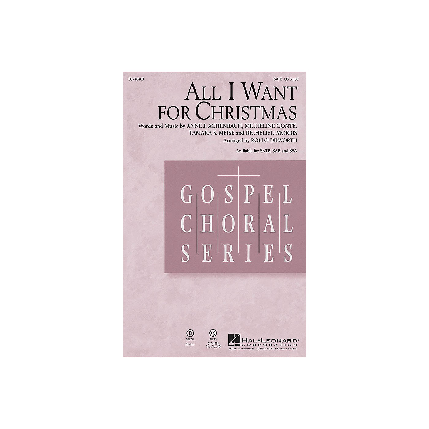 Hal Leonard All I Want for Christmas SSA Arranged by Rollo Dilworth thumbnail