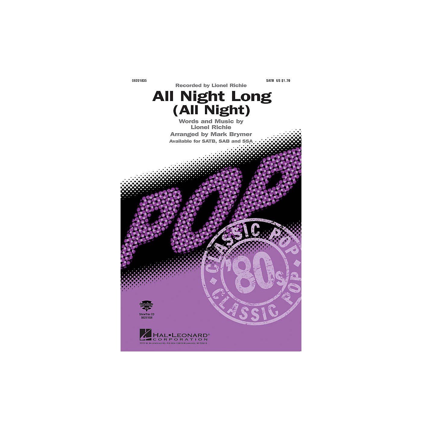 Hal Leonard All Night Long (All Night) ShowTrax CD by Lionel Richie Arranged by Mark Brymer thumbnail