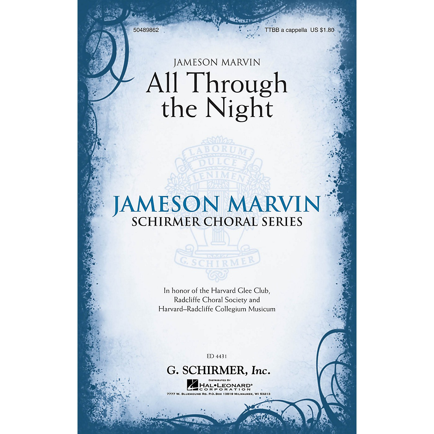 G. Schirmer All Through the Night (Jameson Marvin Choral Series) TTBB A Cappella arranged by Jameson Marvin thumbnail