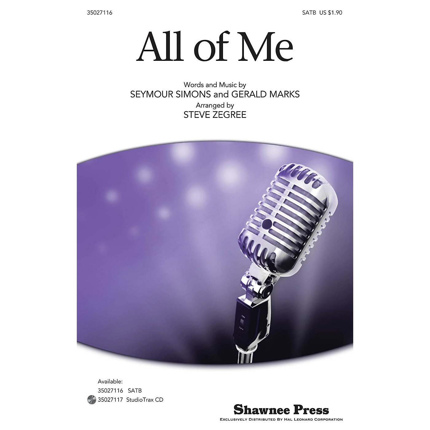 Shawnee Press All of Me SATB arranged by Steve Zegree thumbnail