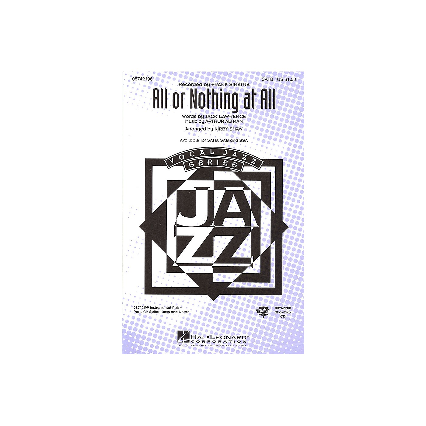 Hal Leonard All or Nothing at All SSA by Frank Sinatra Arranged by Kirby Shaw thumbnail