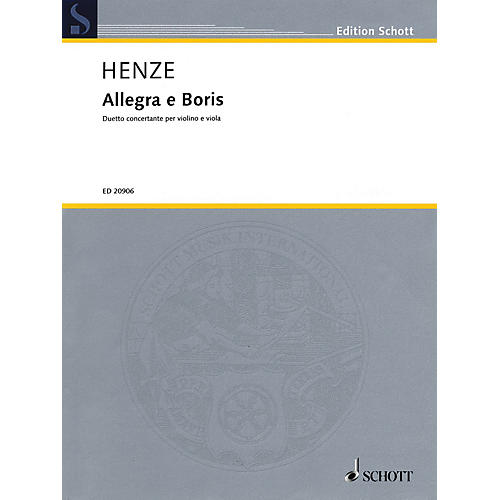 Schott Music Allegra e Boris Schott Series Composed by Hans Werner Henze thumbnail