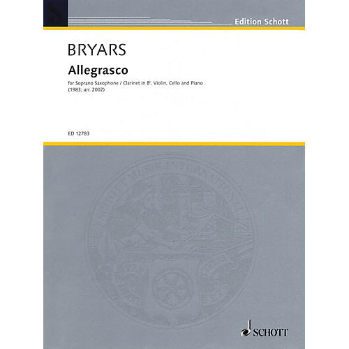 Schott Allegrasco (Score and Parts) Woodwind Ensemble Series by Gavin Bryars thumbnail