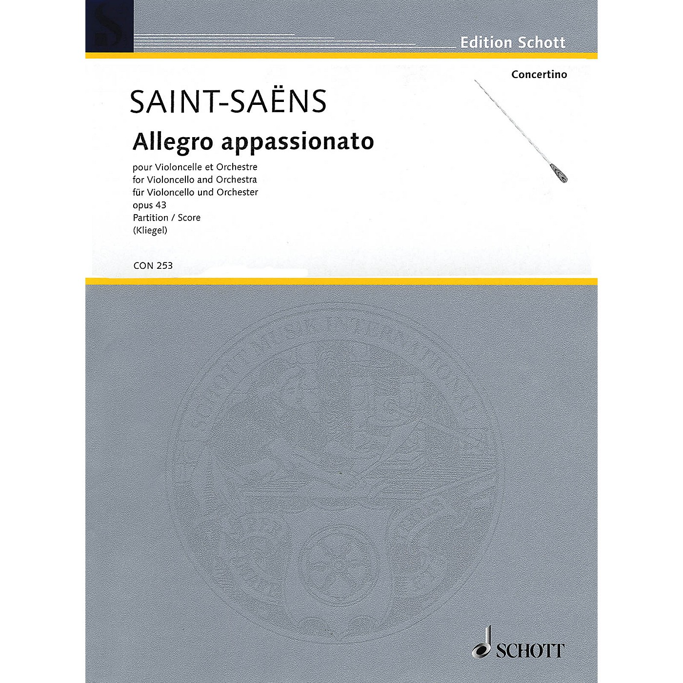 Schott Allegro appassionato (Cello and Orchestra Full Score) String Series Softcover by Camille Saint-Saëns thumbnail