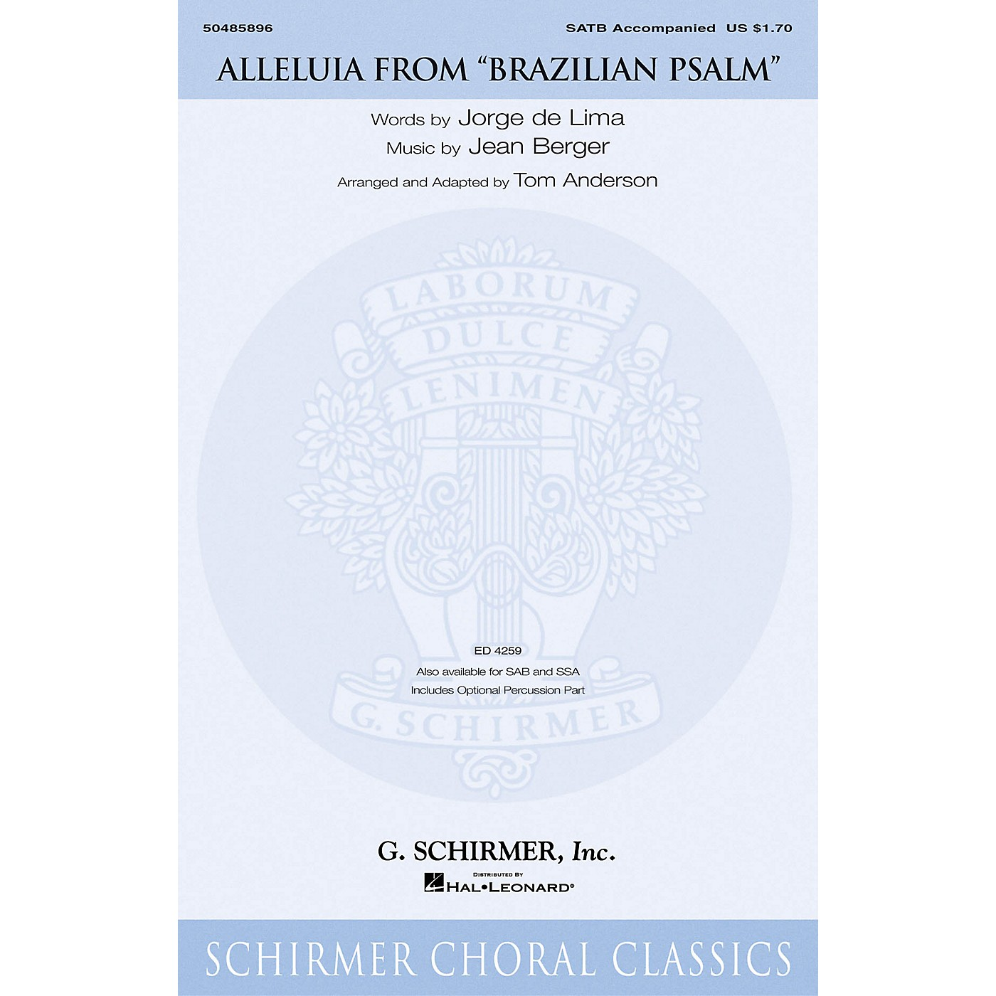 G. Schirmer Alleluia (from Brazilian Psalm) SATB arranged by Tom Anderson thumbnail
