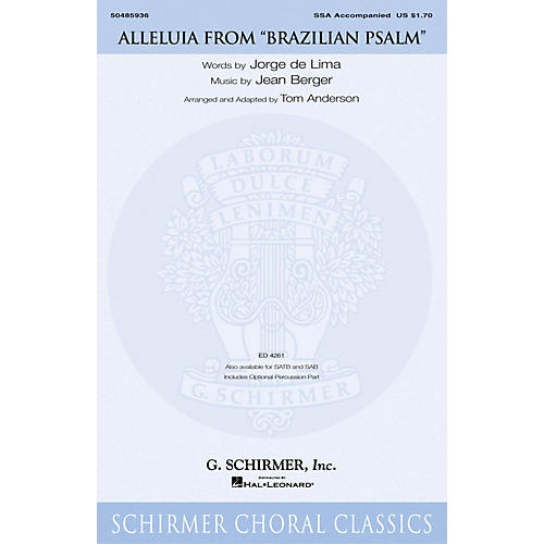 G. Schirmer Alleluia (from Brazilian Psalm) SSA arranged by Tom Anderson thumbnail