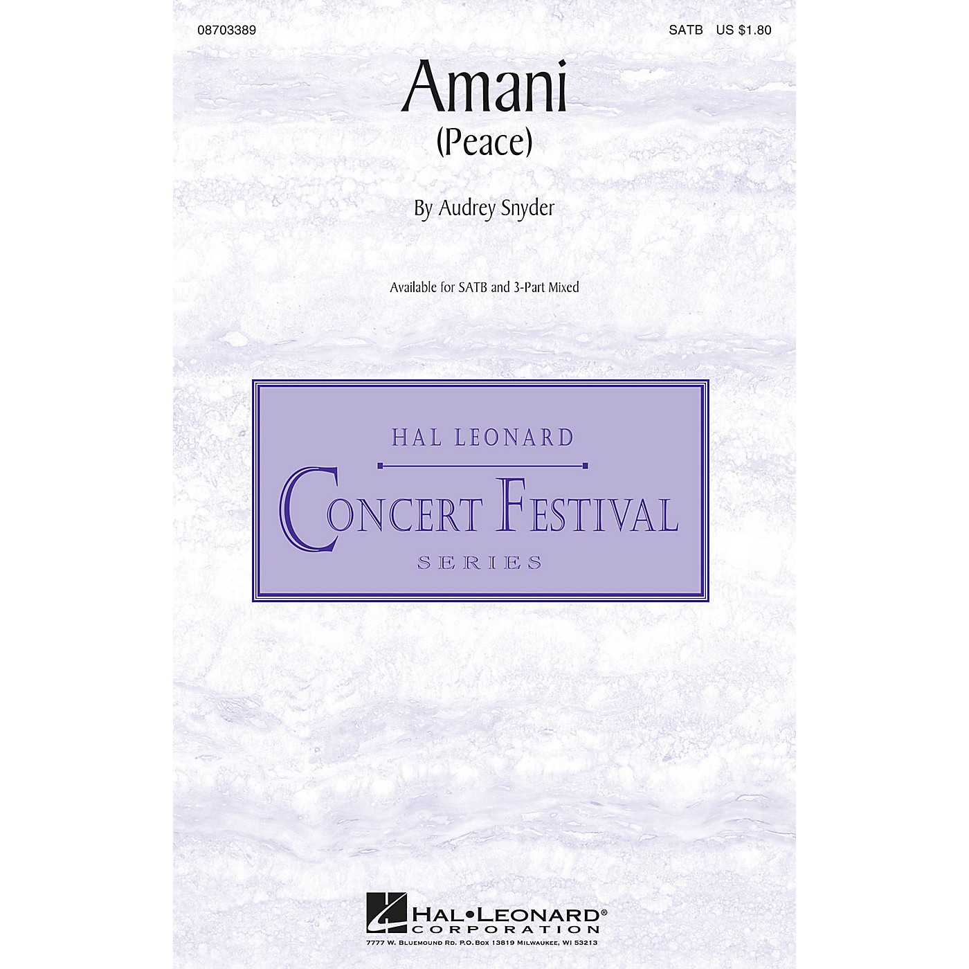 Hal Leonard Amani (Peace) 3-Part Mixed Composed by Audrey Snyder thumbnail