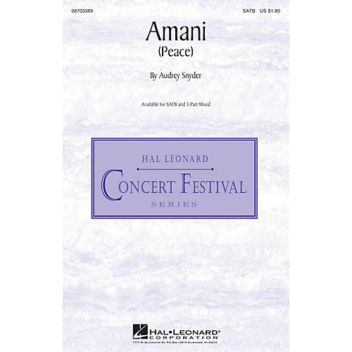 Hal Leonard Amani (Peace) SATB composed by Audrey Snyder thumbnail