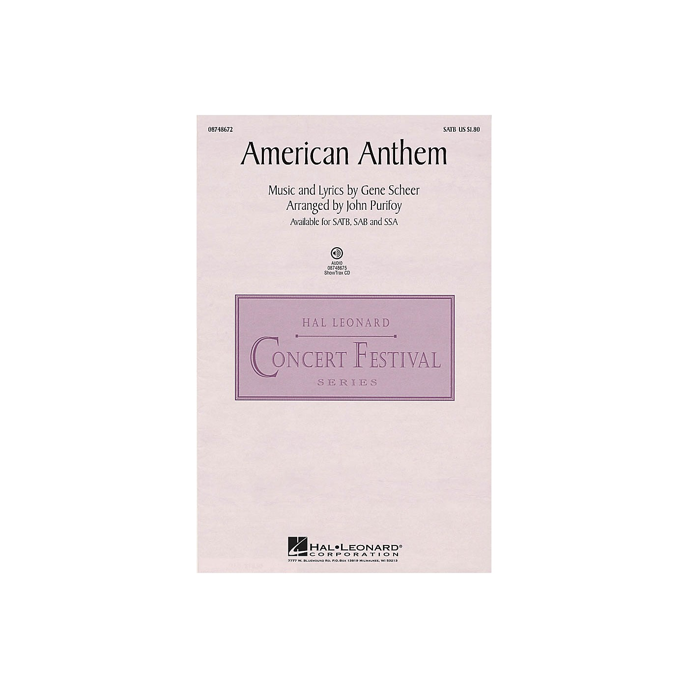 Hal Leonard American Anthem SAB Arranged by John Purifoy thumbnail