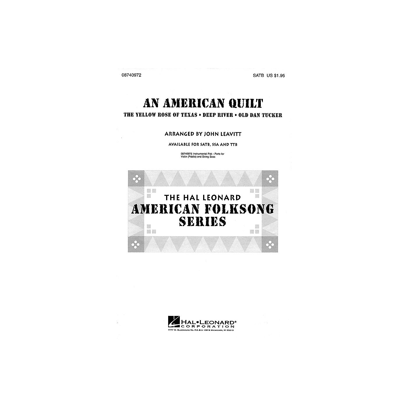 Hal Leonard An American Quilt (A Collection of 3 American Folksongs) SATB arranged by John Leavitt thumbnail