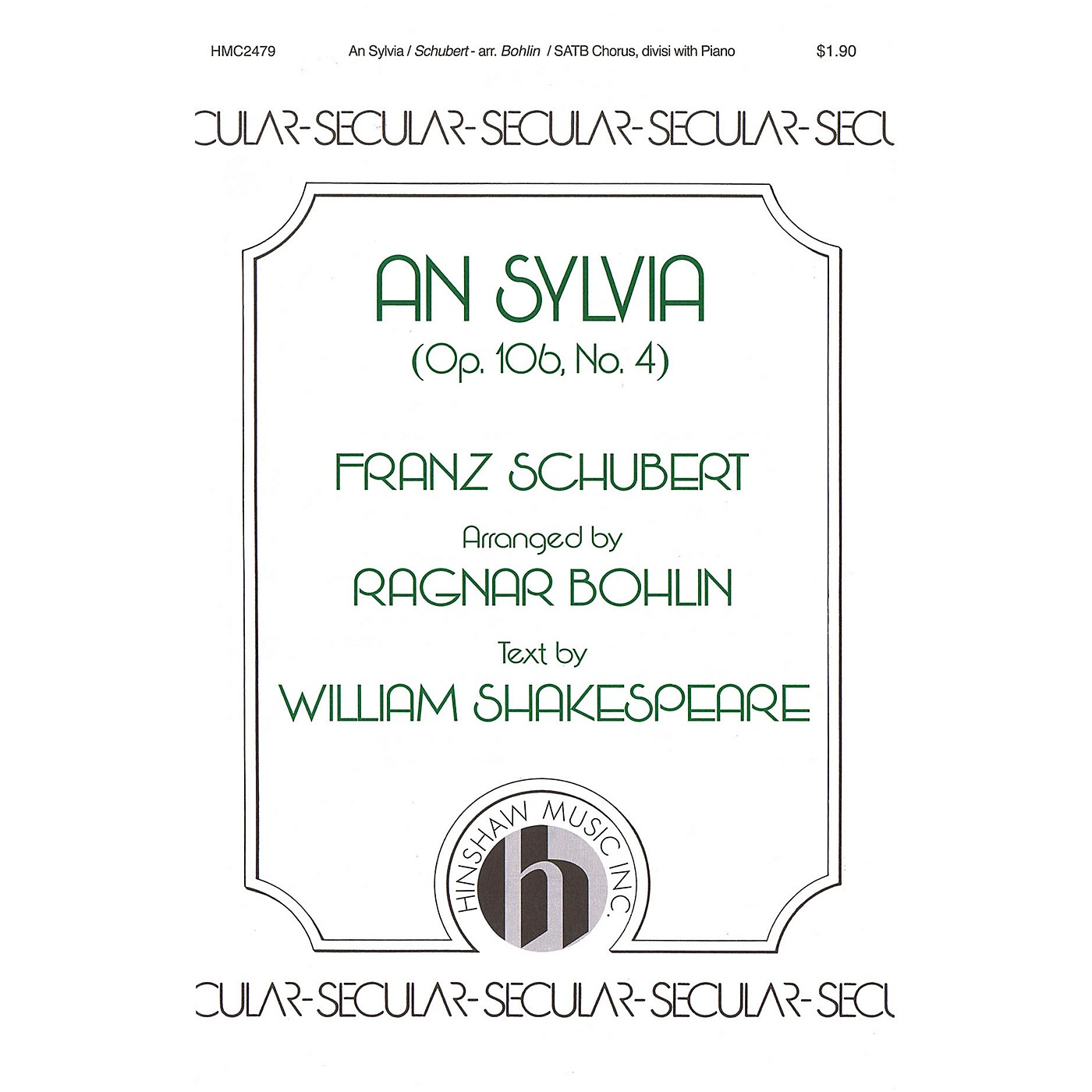 Hinshaw Music An Sylvia (Op. 106, No. 4) SATB arranged by Ragnar Bohlin thumbnail