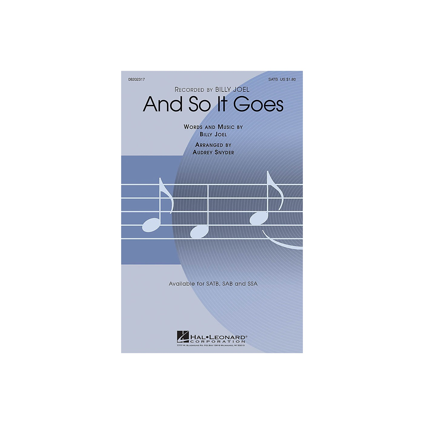 Hal Leonard And So It Goes SATB by Billy Joel arranged by Audrey Snyder thumbnail