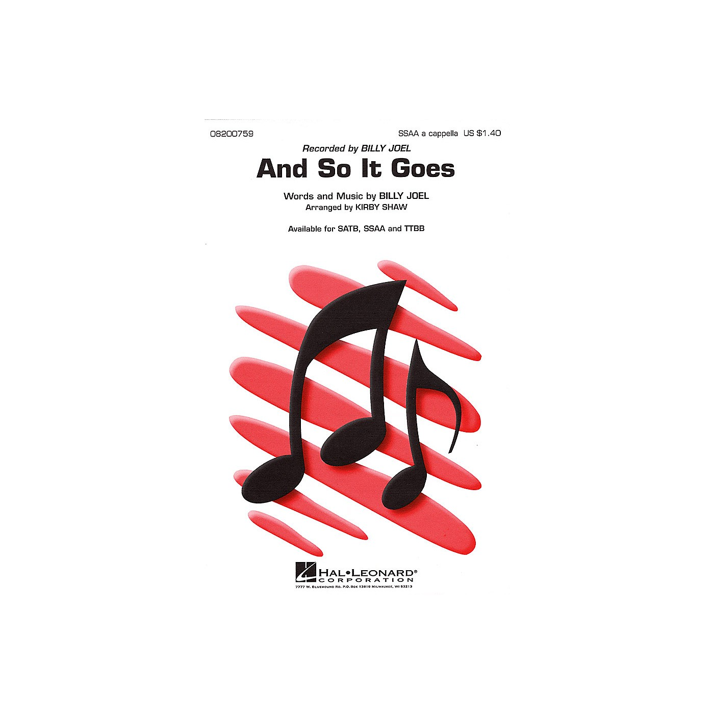 Hal Leonard And So It Goes TTBB A Cappella by Billy Joel Arranged by Kirby Shaw thumbnail