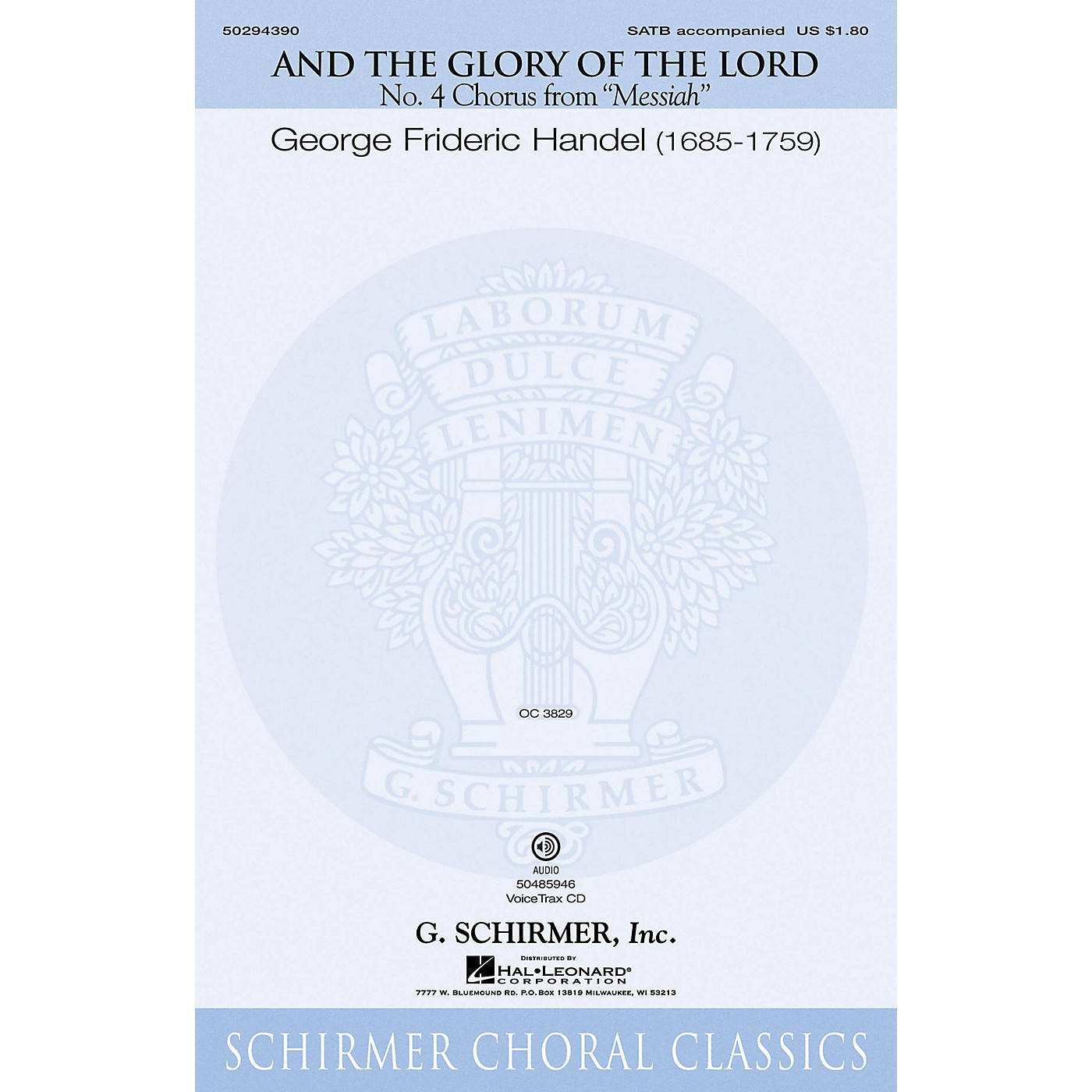 G. Schirmer And the Glory of the Lord (from Messiah) SATB composed by Handel G F thumbnail