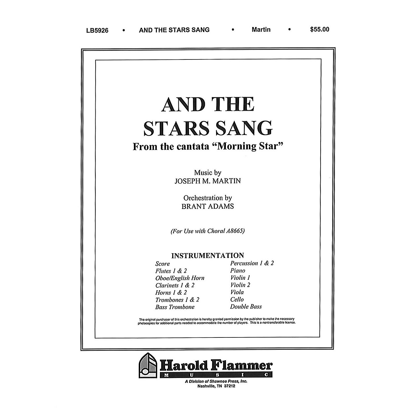 Shawnee Press And the Stars Sang (from Morning Star) Score & Parts composed by Joseph M. Martin thumbnail