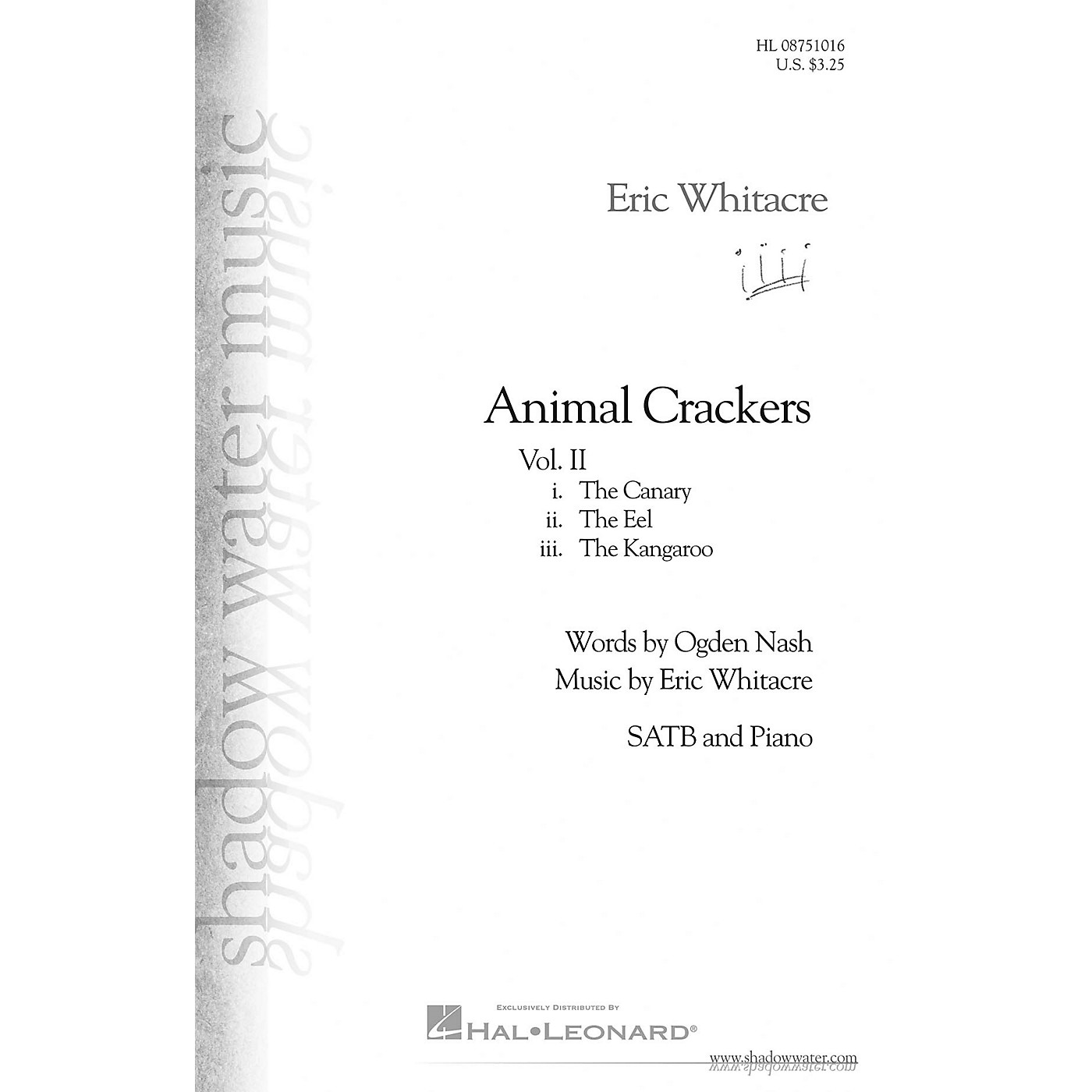 Shadow Water Music Animal Crackers II SATB composed by Eric Whitacre thumbnail