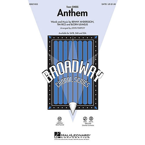 Hal Leonard Anthem (from Chess) SATB by Josh Groban arranged by John Purifoy thumbnail