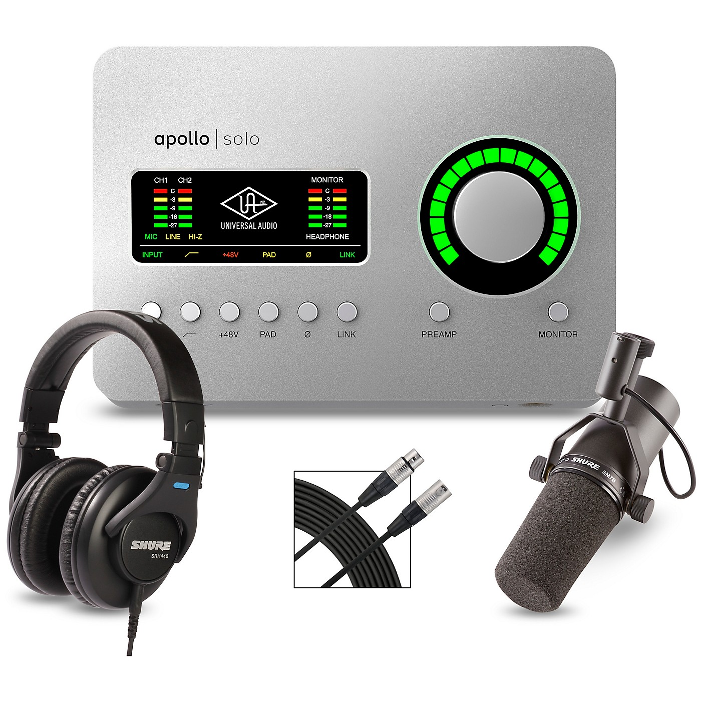 Universal Audio Apollo Solo Heritage Edition Interface With Shure SM7B, SRH 440 and Mic Cable thumbnail
