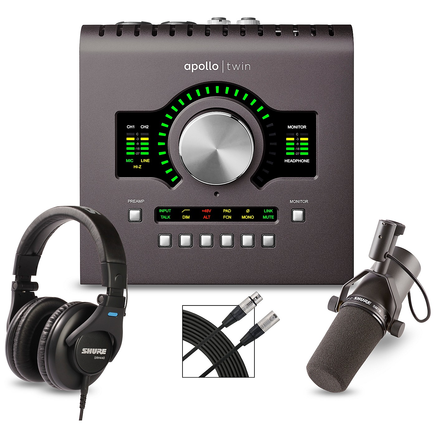 Universal Audio Apollo Twin MKII DUO Heritage Edition Interface With Shure SM7B, SRH 440 and Mic Cable thumbnail