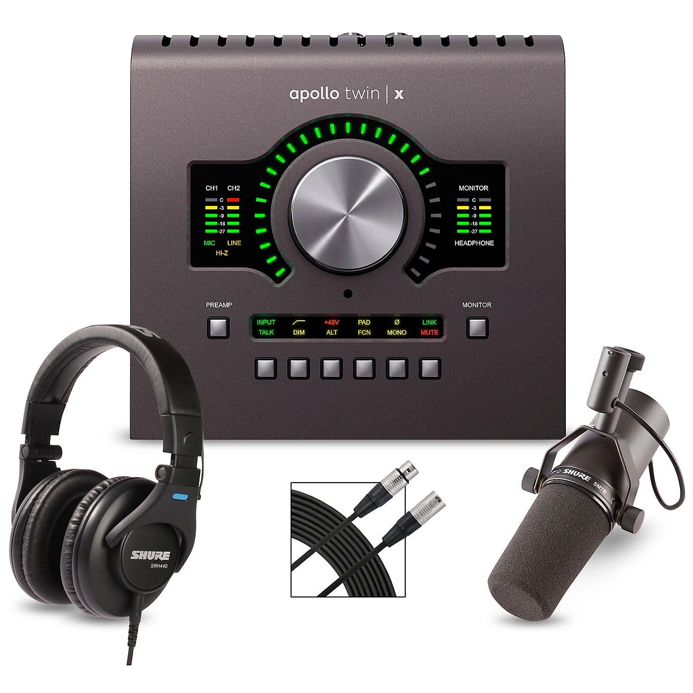Universal Audio Apollo Twin X DUO Heritage Edition Interface with Shure SM7B, SRH 440 and Mic Cable thumbnail