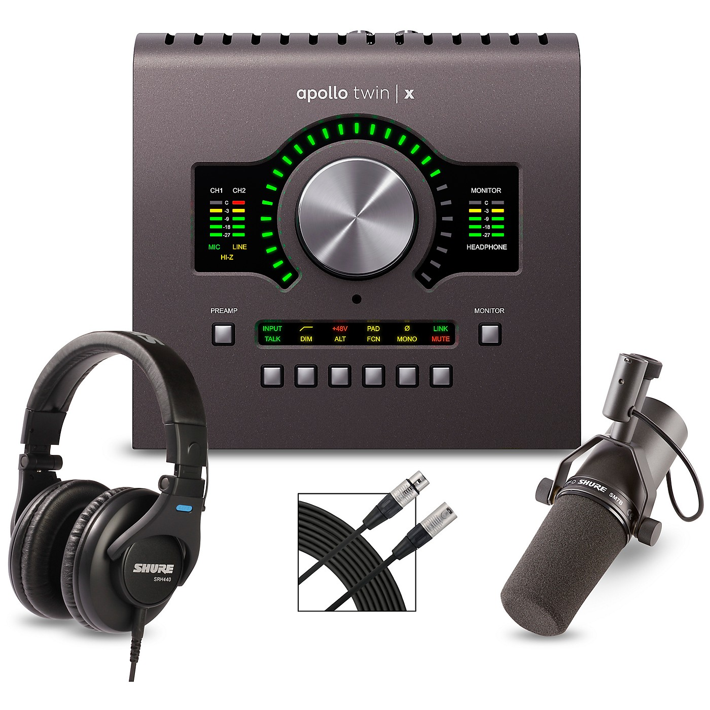 Universal Audio Apollo Twin X QUAD Heritage Edition Interface With Shure SM7B, SRH 440 and Mic Cable thumbnail
