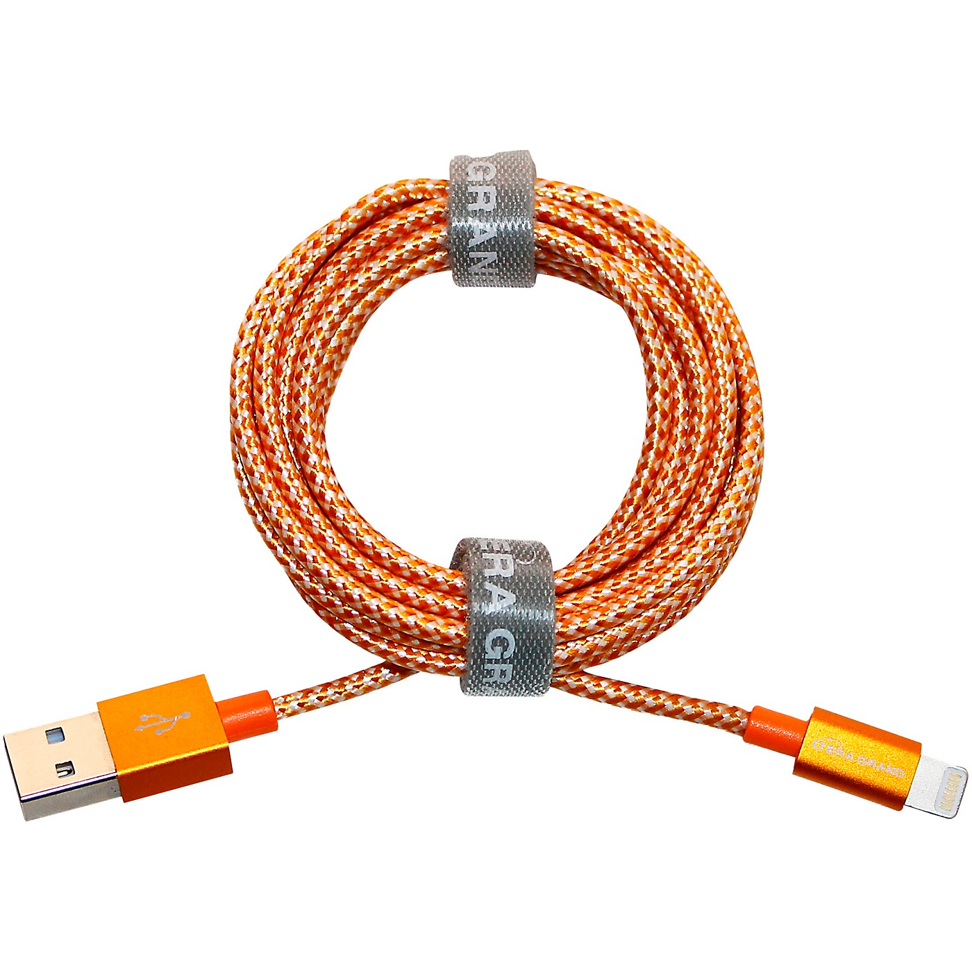 Tera Grand Apple MFi Certified - Lightning to USB Braided Cable with Aluminum Housing, 7 Feet Orange/White thumbnail