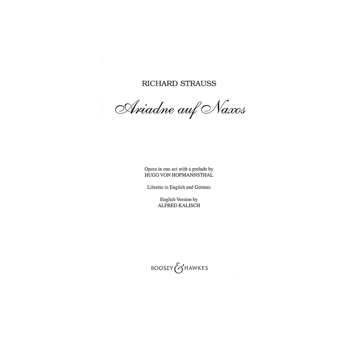 Boosey and Hawkes Ariadne auf Naxos, Op. 60 (German Text) BH Stage Works Series  by Richard Strauss thumbnail