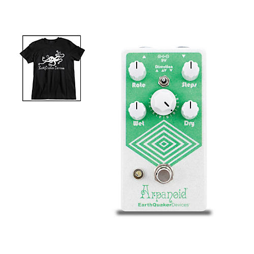 EarthQuaker Devices Arpanoid V2 Polyphonic Pitch Arpeggiator Effects Pedal and Octoskull T-Shirt Large Black thumbnail