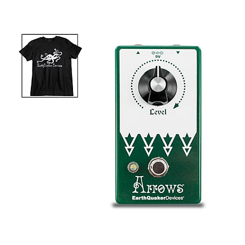 EarthQuaker Devices Arrows V2 Preamp Booster Effects Pedal and Octoskull T-Shirt Large Black thumbnail
