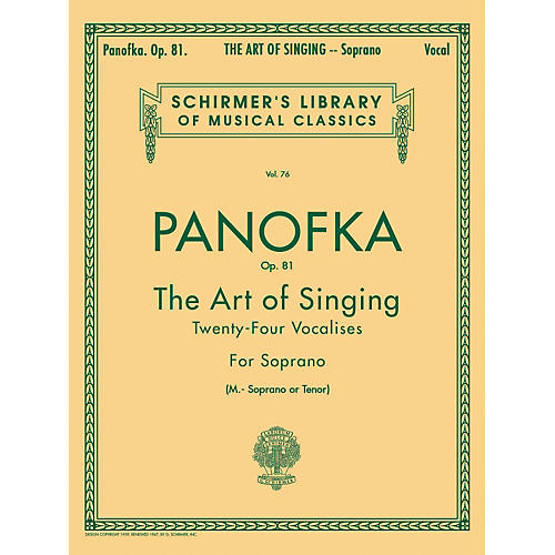 G. Schirmer Art of Singing (24 Vocalises), Op.81 for Soprano, Mezzo-Soprano or Tenor Voice by Panofka H P thumbnail
