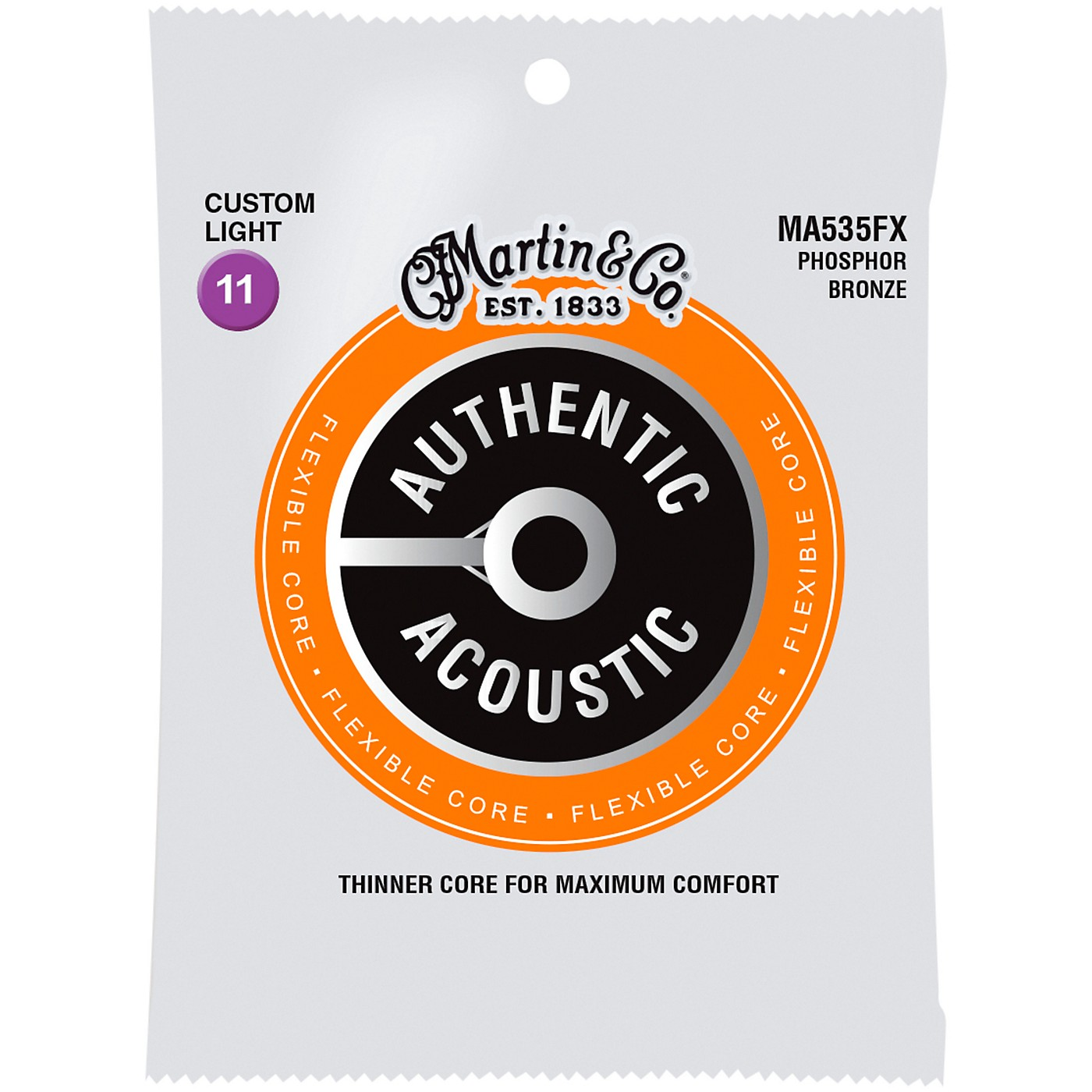 Martin Authentic Acoustic Flexible Core Guitar Strings (Phosphor Bronze, Custom Light) thumbnail