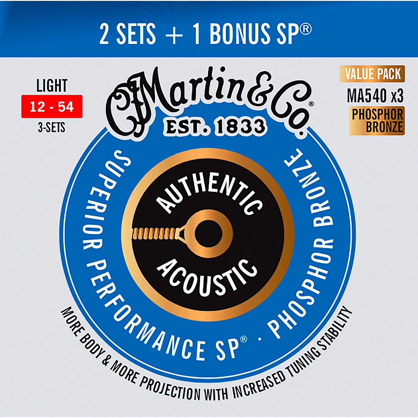 Martin Authentic Acoustic SP Guitar Strings, Light (MA540) Value 3-Pack (12-54) thumbnail