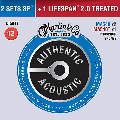 Martin Authentic Acoustic Value Pack Phosphor Bronze Light Guitar Strings thumbnail
