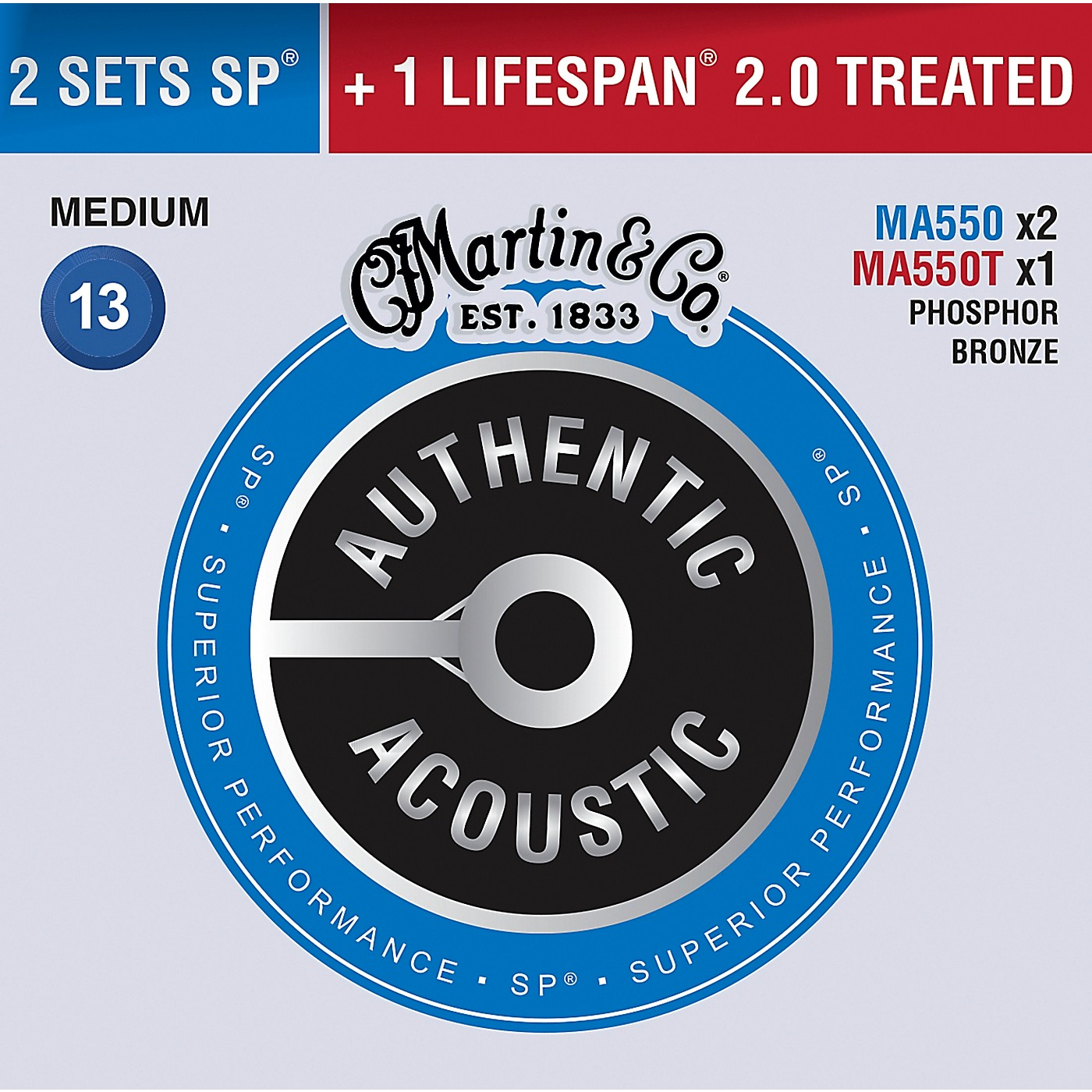 Martin Authentic Acoustic Value Pack Phosphor Bronze Medium Guitar Strings thumbnail