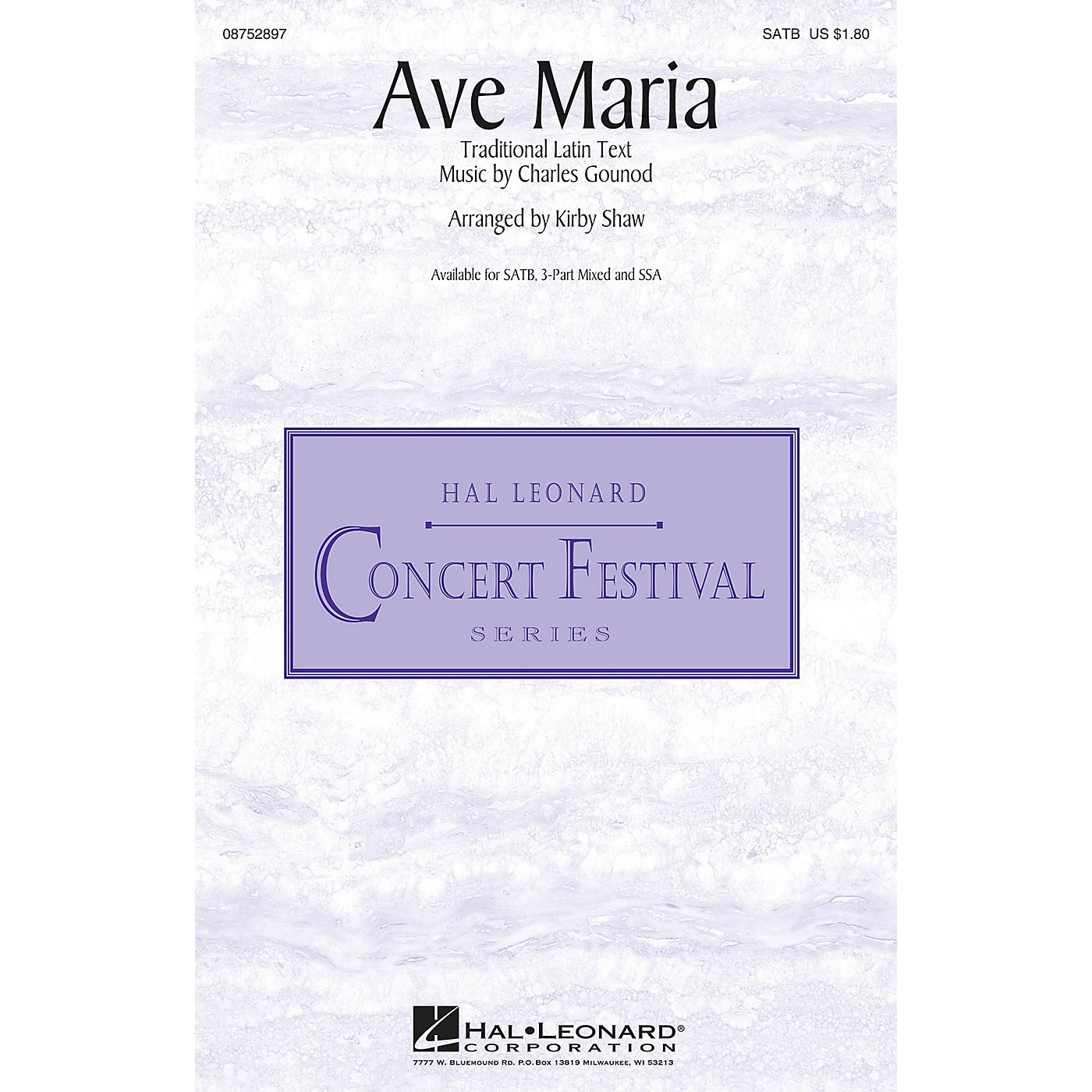 Hal Leonard Ave Maria 3-Part Mixed Arranged by Kirby Shaw thumbnail