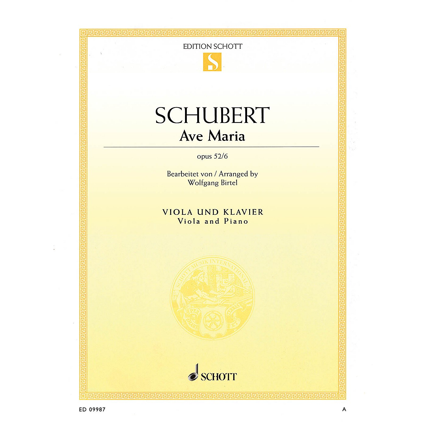Schott Ave Maria Op. 52, No. 6 (arranged for Viola and Piano) String Series Softcover thumbnail