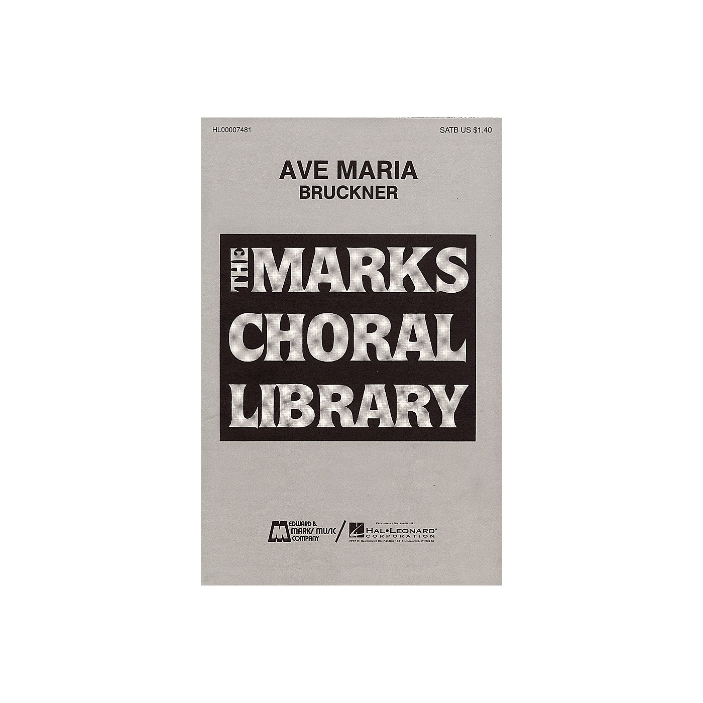 Edward B. Marks Music Company Ave Maria SATB DV A Cappella composed by Anton Bruckner thumbnail