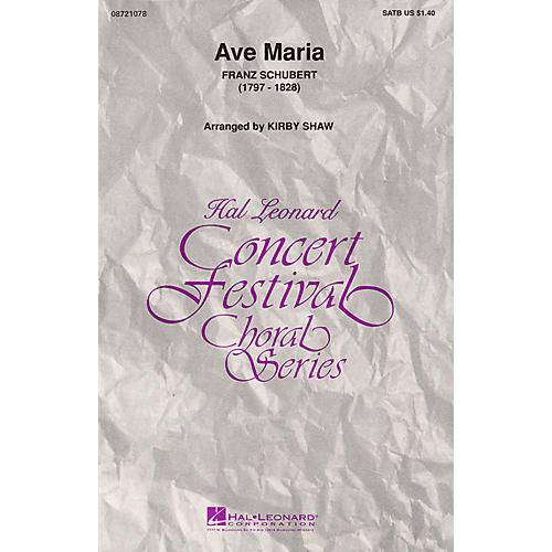 Hal Leonard Ave Maria (SATB) SATB arranged by Kirby Shaw thumbnail