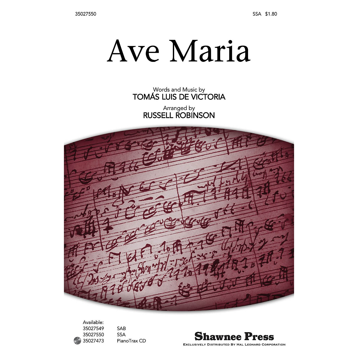 Shawnee Press Ave Maria SSA, OPT. ACCOMPANIMENT arranged by Russell Robinson thumbnail
