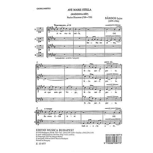 Editio Musica Budapest Ave Maria Stella SATB Composed by Lajos Bárdos thumbnail