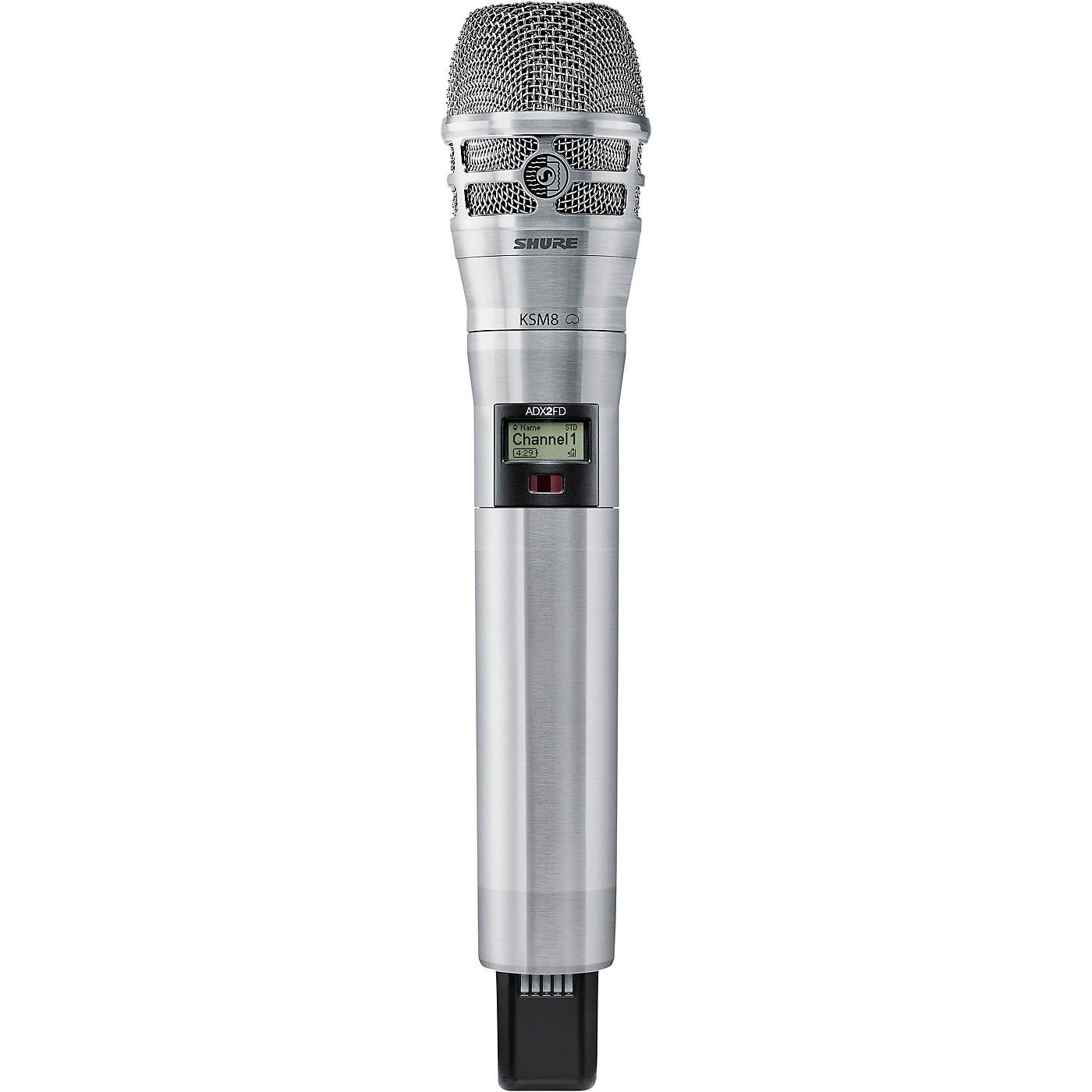 Shure Axient Digital ADX2FD/K8N Wireless Handheld Microphone Transmitter With KSM8 Capsule in Nickel thumbnail